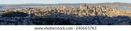 San Francisco Skyline from Alcatraz Island to the New Bay Bridge Panoramic - stock photo