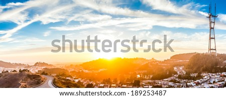 San Francisco skyline from Twin Peaks at Sunset, California, USA - stock photo