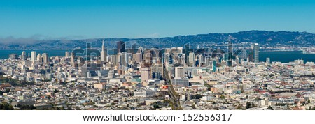 San Francisco skyline panoramic - stock photo