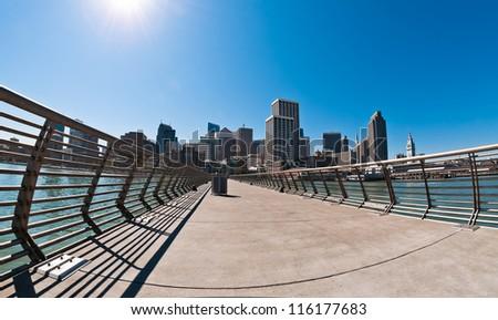 San Francisco skyline  view from Pier 14, California, USA - stock photo