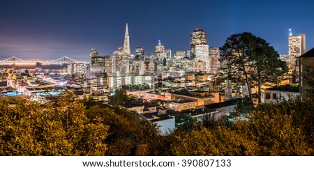 San Francisco skyline with Bay Bridge at night  - stock photo