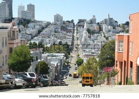 San Francisco Street Level Perspective - stock photo