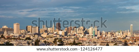 San Francisco town and skyline in late afternoon light. - stock photo