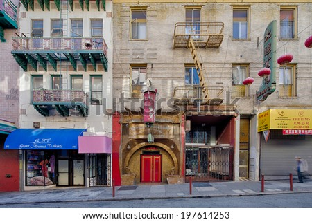 SAN FRANCISCO, USA - JUNE 30: Shops in Chinatown in the early morning without crowds of people, with lots of lampions, on June 30, 2013 in San Francisco, USA. - stock photo