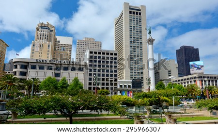 SAN FRANCISCO, USA - MAY 15 2015:San Francisco Union Square.It's a major tourist attraction gathering place in downtown San Francisco  one of the world's premier shopping districts - stock photo