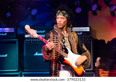SAN FRANCISCO, USA - OCT 5, 2015: Jimi Hendrix at the Madame Tussauds museum in SF. It was open on June 26, 2014 - stock photo
