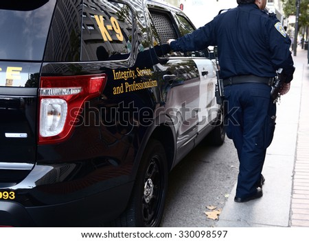 San Francisco, USA, - September 01, 2015: K-9 unit on the steets of San Francisco. - stock photo