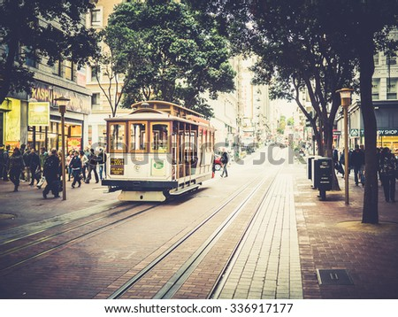 SAN FRANCISCO, USA - SEPTEMBER 15: typical tram on September 15, 2015 in San Francisco, California, United States. San Francisco was founded on June 29, 1776. - stock photo