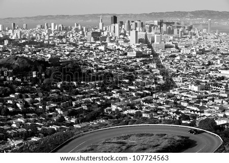 San Francisco viewed from Twin Peaks - stock photo