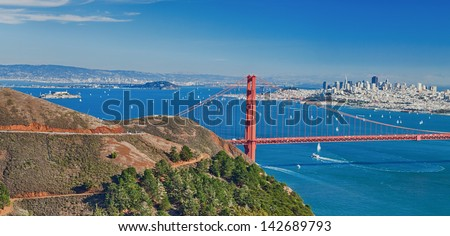 San Francisco with Golden Gate bridge and Alcatraz - stock photo