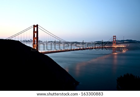 San Fransisco Skyline night shot from high viewpoint - stock photo