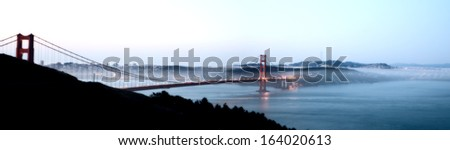 San Fransisco Skyline night shot from high viewpoint panoramic - stock photo