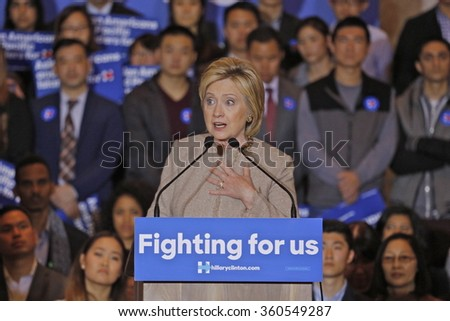 SAN GABRIEL, LA, CA - JANUARY 7, 2016, Democratic Presidential candidate Hillary Clinton speaks to Asian American and Pacific Islander (AAPI) members, including Democrat Representative Judy Chu. - stock photo
