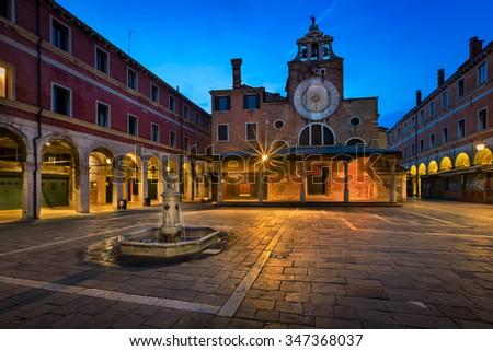 San Giacomo di Rialto Square and Church in the Morning, Venice, Italy - stock photo