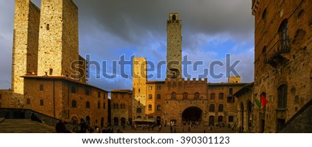 San Gimignano, Siena - Italy: panoramic view of the square - stock photo