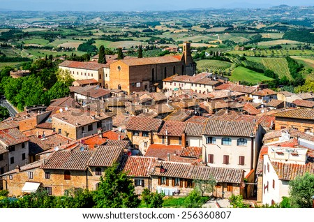 San Gimignano, Tuscany. Medieval walled city, known for his beautiful towers, main tuscan landmark of Italy. - stock photo