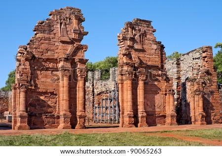 San Ignacio Miní, Jesuit Mission of the Guarani, UNESCO World Heritage Site. Main temple entrance. Morning view - stock photo
