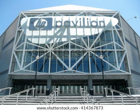 SAN JOSE - AUGUST 5: Main Entrance to the HP Pavilion home of the San Jose Sharks of the National Hockey League in San Jose, California on August 5, 2010. - stock photo