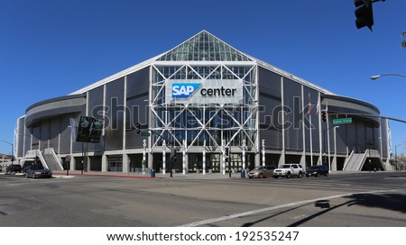 SAN JOSE, CA - MARCH 18: The SAP Center located in downtown San Jose on March 18, 2014. The SAP Center is a multi-purpose sports and concert venue and the home of the San Jose Sharks of the NHL. - stock photo