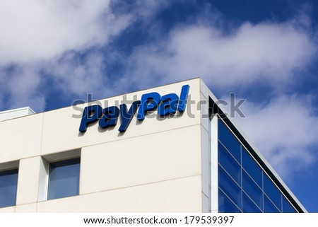 SAN JOSE, CA/USA - MARCH 1, 2014:  PayPal Corporate Headquarters Sign. PayPal is an international e-commerce business allowing payments and money transfers to be made through the Internet. - stock photo