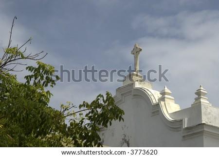 san jose church and quincentennial plaza old san juan, puerto rico - stock photo