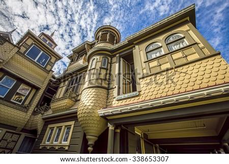 SAN JOSE; SANTA CLARA COUNTY; CALIFORNIA; USA - SEPTEMBER 25; The door to nowhere, a famous oddity at the Winchester Mystery House; on September 25; 2015 in San Jose; California; USA. - stock photo