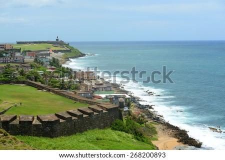 San Juan Castillo San Felipe del Morro El Morro and Old San Juan skyline by the sea. From Castillo de San Cristobal, San Juan, Puerto Rico. - stock photo
