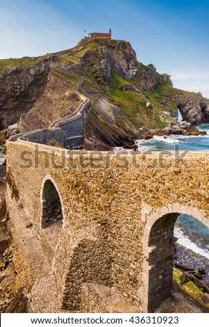San Juan de Gaztelugatxe, Basque Country (Spain) - stock photo