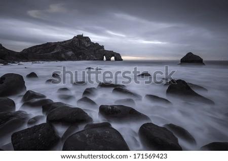 San Juan de Gaztelugatxe, coast of north Spain - stock photo