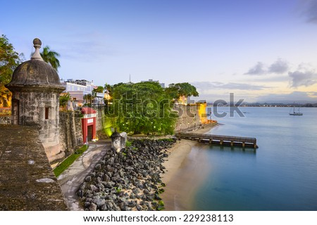 San Juan, Puerto Rico old city view over Paseo de la Princesa. - stock photo