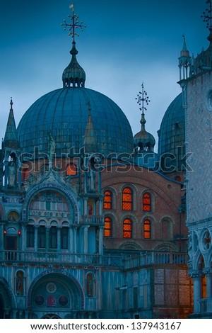 San Marco Basilica by night - stock photo