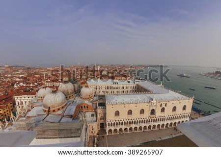 San Marco Basilica domes, Doges Palace and roofs of venetian houses, top view
