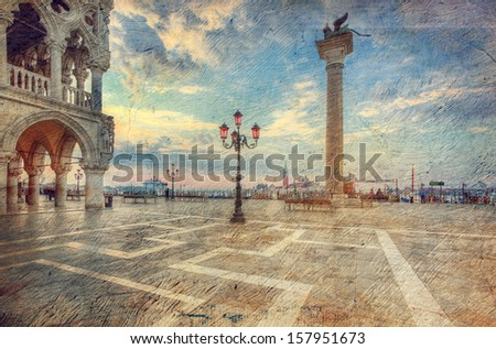 San Marco square in the morning. Venice. Italy. Picture in artistic retro style. - stock photo