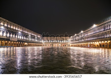 San Marco square in Venice, Italy at the night time - stock photo
