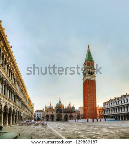 San Marco square in Venice, Italy early in the morning - stock photo