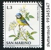 SAN MARINO - CIRCA 1972: A stamp printed by San Marino, shows Blue tit, circa 1972 - stock photo
