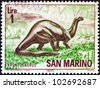 "SAN MARINO - CIRCA 1965: A stamp printed in San Marino from the ""Prehistoric Animals"" issue shows a Brontosaurus, circa 1965. - stock photo"