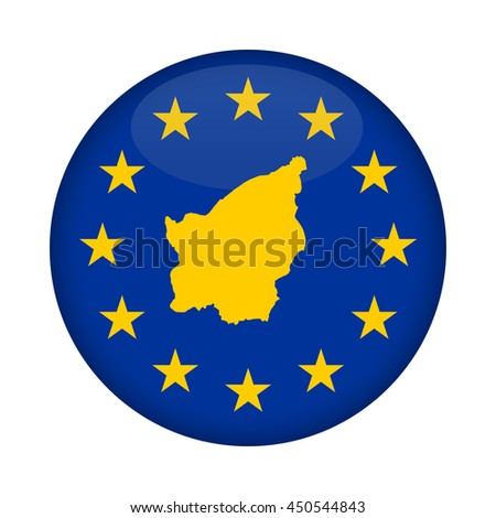 San Marino map on a European Union flag button isolated on a white background. - stock photo