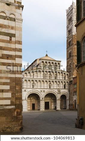 San Martino with piazza, Lucca, Tuscany, Italy - stock photo