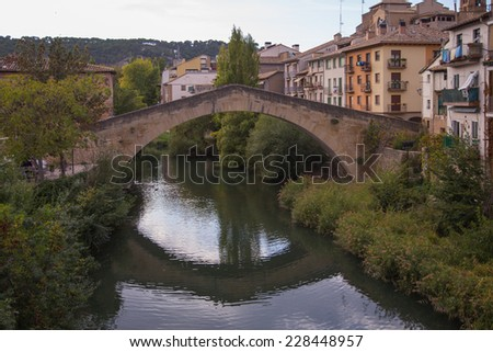San Miguel church with bridge Puente de la Carcel, Estella, Road - stock photo
