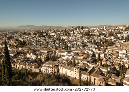 San Nicolas church in Moorish Albaicin district of Granada - stock photo