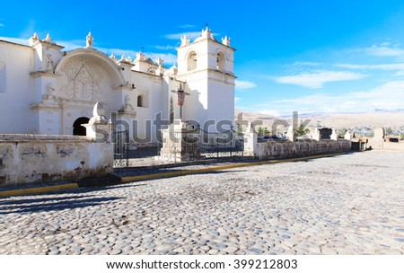 San Pedro de Alcantara Church in Cabanaconde, Peru - stock photo