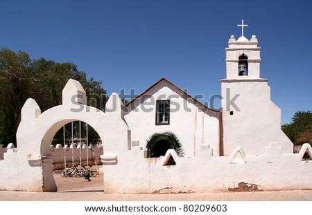 San Pedro de Atacama church, Chile. - stock photo