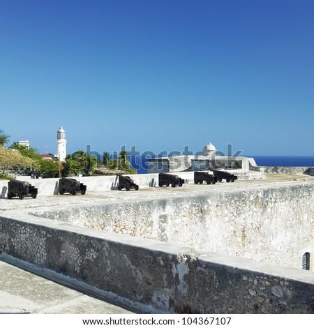 San Pedro de la Roca Castle, Santiago de Cuba Province, Cuba - stock photo