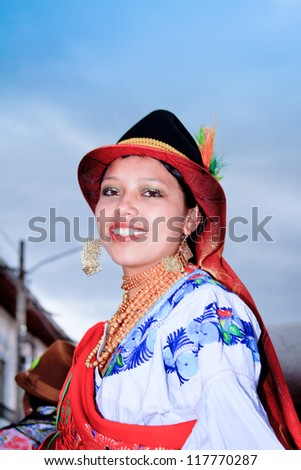 SAN PEDRO, ECUADOR - 29 JUNE : indigenous woman in traditional costume, Inti Raymi festivities, 29 June 2011 SAN PEDRO, ECUADOR - stock photo