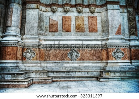 San Petronio cathedral detail in Bologna, Italy - stock photo