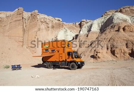 SAN RAFAEL SWELL, , UTAH, USA - May 2: Custom Expedition Vehicle RV camping in remote San Rafael Swell, Utah on May 2, 2014. - stock photo