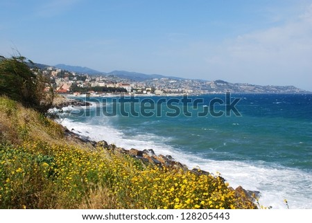 San Remo town and coast, italian riviera landscape, Liguria, Italy - stock photo
