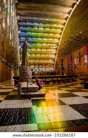 San Salvador, El Salvador - 03-04-2014: Interior of the Rosario church famous stained glass windows - stock photo