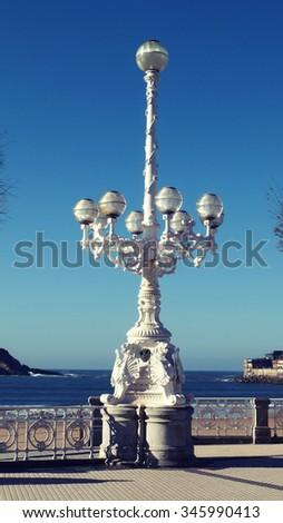 San Sebastian Donostia European Capital Culture 2016 Old Streetlight  - stock photo